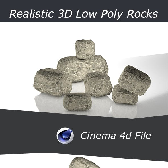 Realistic Low Poly 3D PBR Rocks