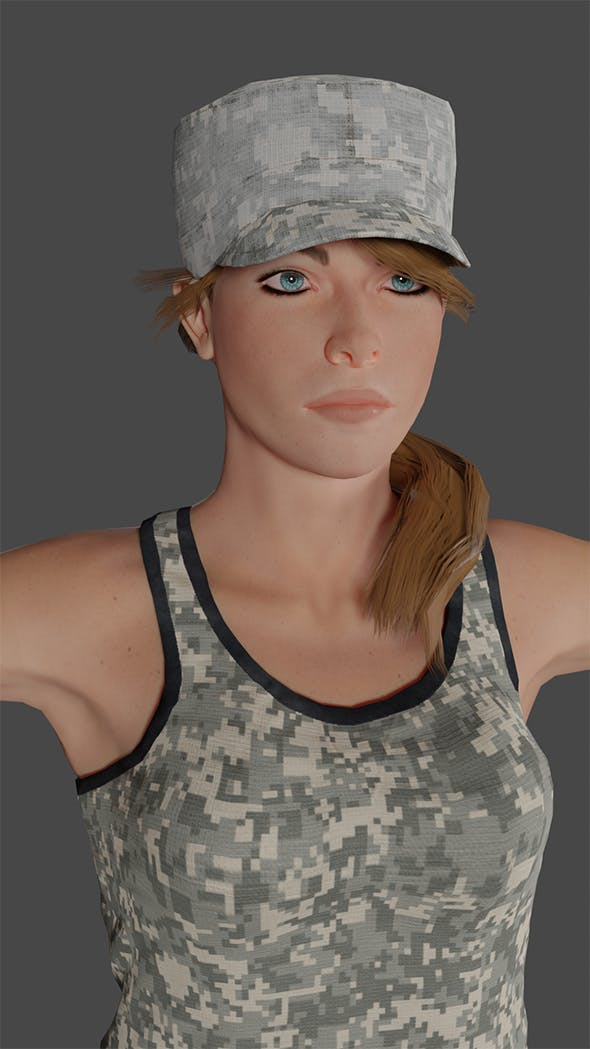 Female Soldier Low-poly 3D model Ready for games - 3DOcean Item for Sale