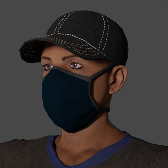 Masked Man Low-poly 3D model Ready for games