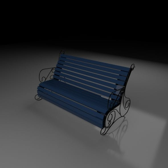 A wooden bench stands