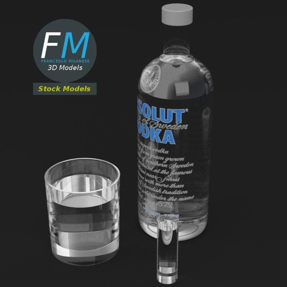 Absolute vodka and glasses set - 3DOcean Item for Sale