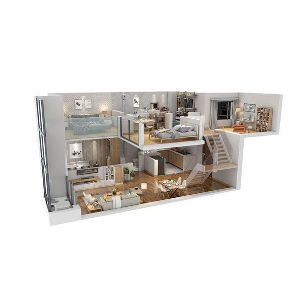 Duplex apartment floorplan Square50