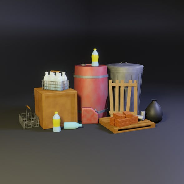 environmental objects Low-poly 3D model