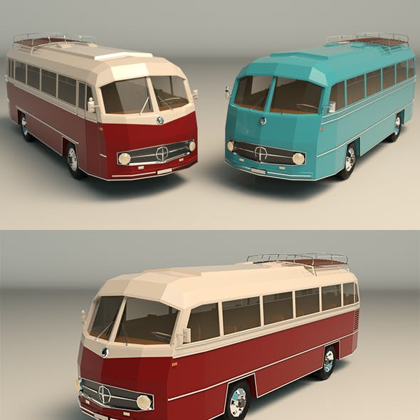 Low Poly Vintage Bus 02