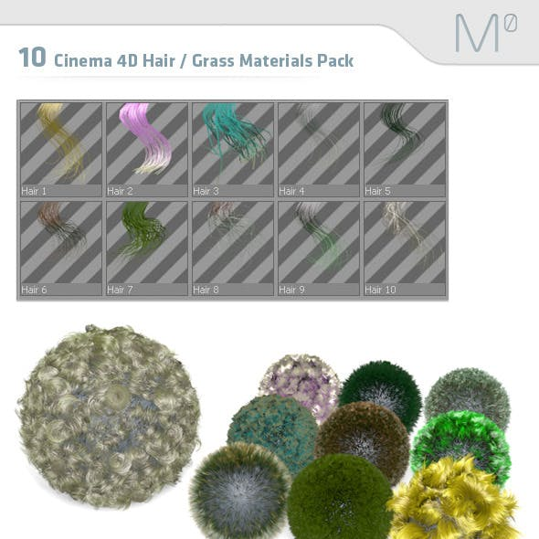 10 Cinema 4D Hair / Grass Materials Pack