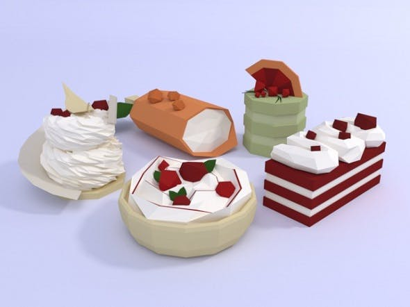 Low poly cakes - 3DOcean Item for Sale