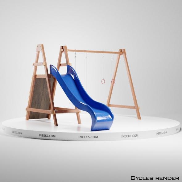 Wooden outdoor swing set with slide 3D Model