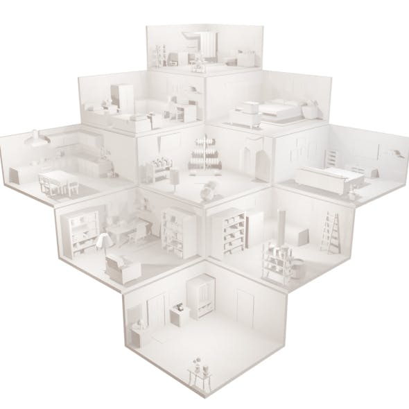 Low-poly Room Set - 9 rooms.