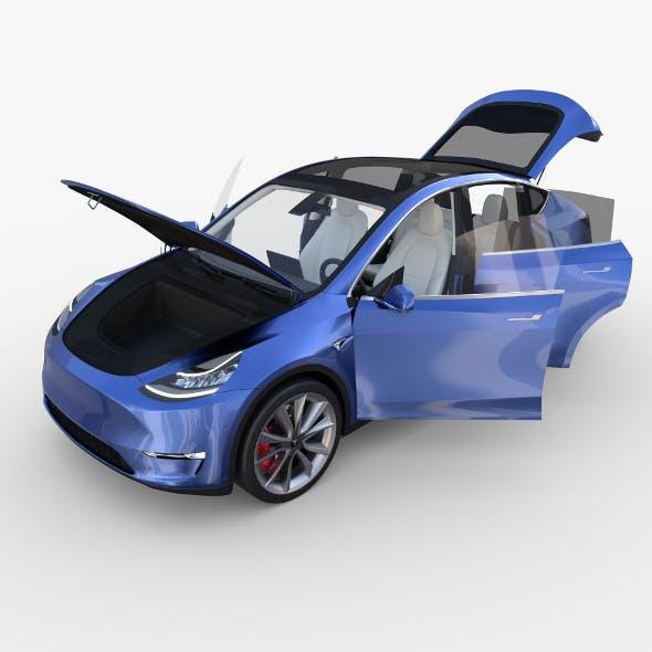 Tesla Model Y Blue with interior