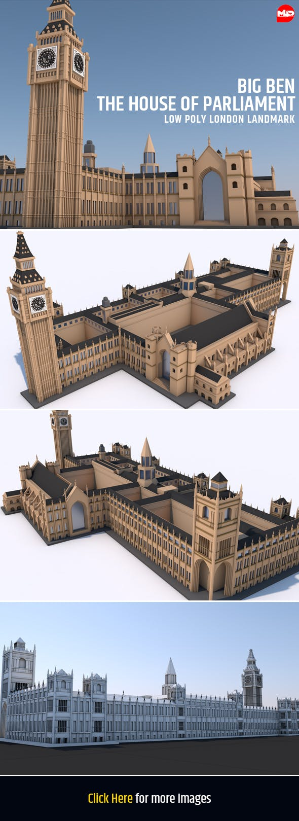 Big Ben and The House of Parliament London Landmark - 3DOcean Item for Sale