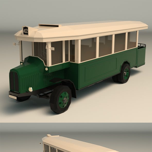 Low Poly Vintage Bus 03