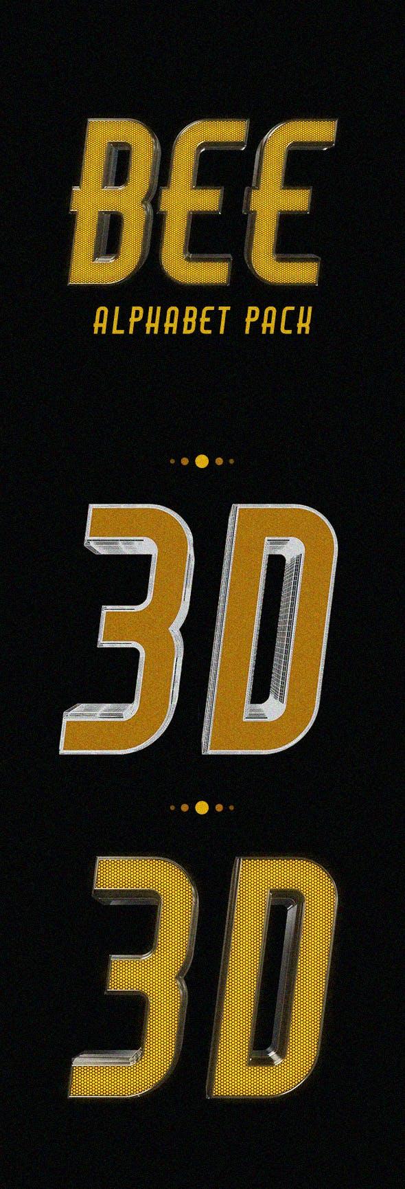 Bee Alphabet Pack - 3DOcean Item for Sale
