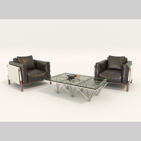 Contemporary Design Armchair Set