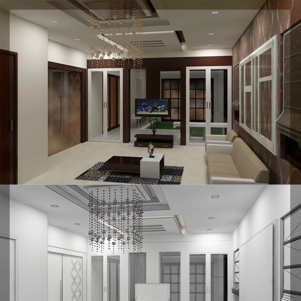 Realistic living Room interior 3D