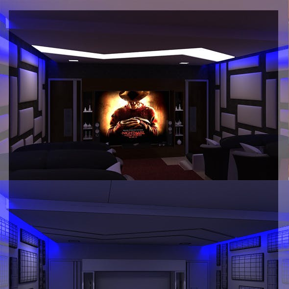 Realistic Home Theater interior 3D