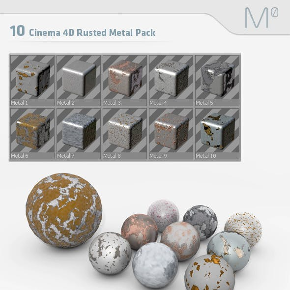 10 Cinema 4D Rusted Metal Pack