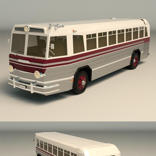 Low Poly Vintage Bus 04