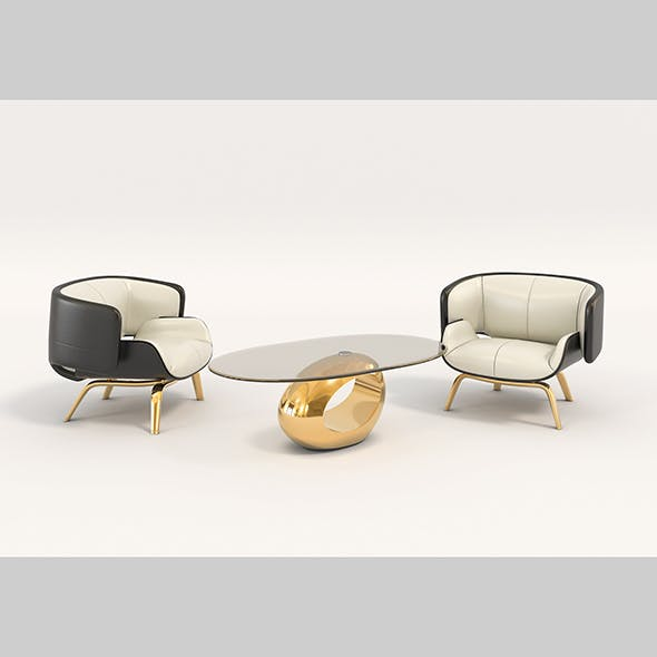Contemporary Design Armchair Set 2 - 3DOcean Item for Sale