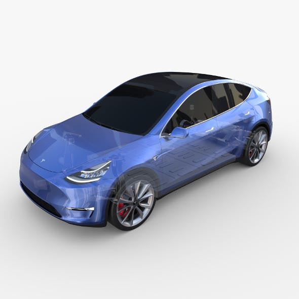 Tesla Model Y RWD Blue with chassis - 3DOcean Item for Sale