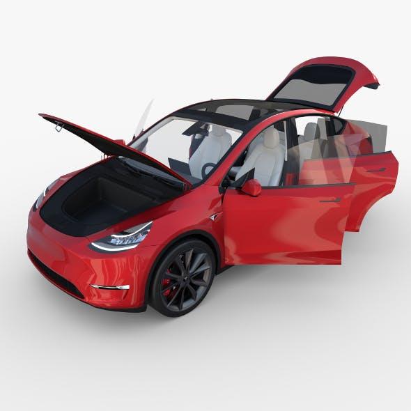 Tesla Model Y Red with interior