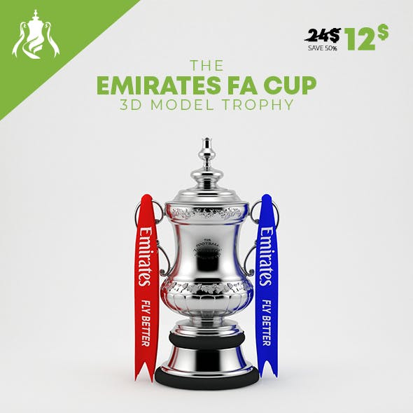The Emirates FA Cup 3D Model Trophy