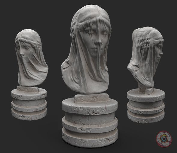 Marble bust of the Veiled Virgin Mary - 3DOcean Item for Sale