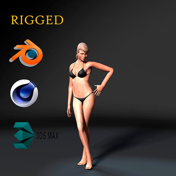 Woman in bikini-Rigged 3d game character Low-poly 3D model