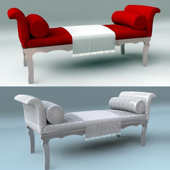 Red Chaise Bench