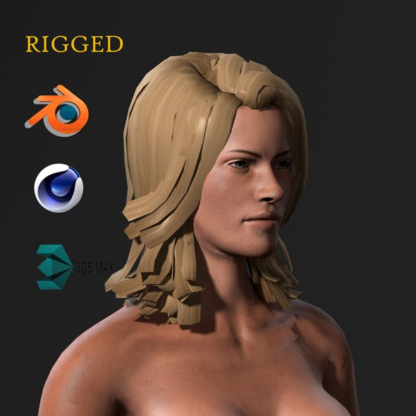 Beautiful Naked woman-Rigged 3d game character Low-poly 3D model