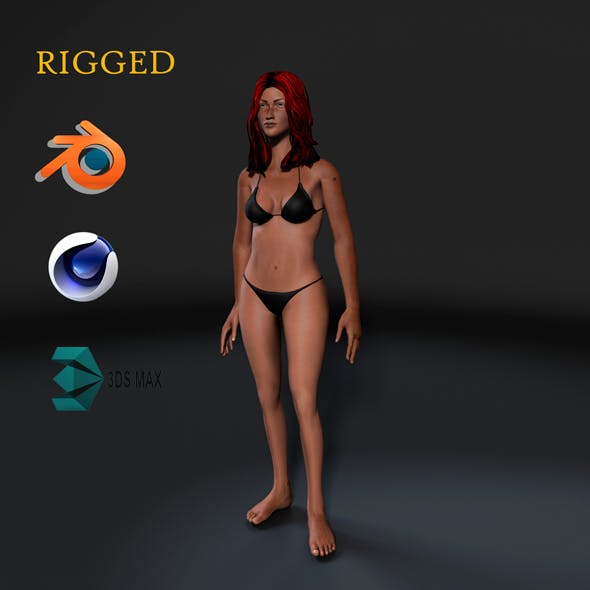 Woman in bikini-Rigged 3d game character Low-poly 3D model - 3DOcean Item for Sale