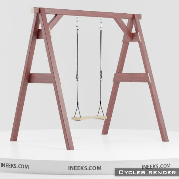 Classic wooden swing set with ropes 3D Model