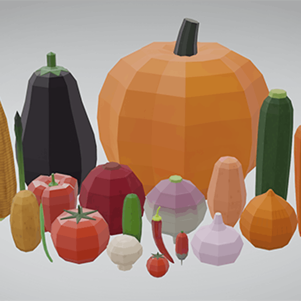 20 Vegetables - Low Poly, Flat Shaded