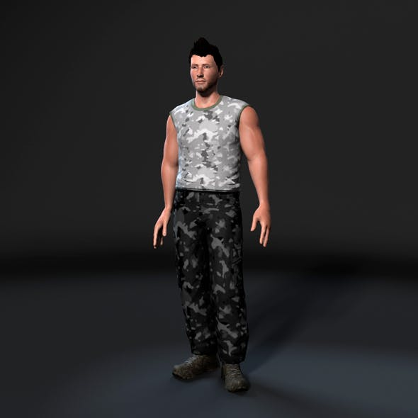 Animated Muscular Man-Rigged 3d game character Low-poly 3D model