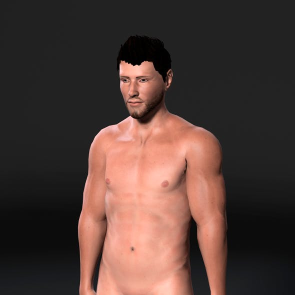 Animated Muscular Naked Man-Rigged 3d game character Low-poly 3D model