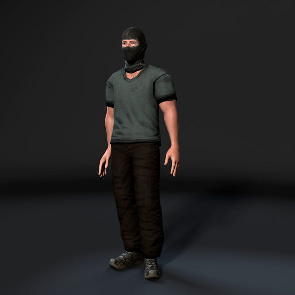 Animated Gang Man-Rigged 3d game character Low-poly 3D model