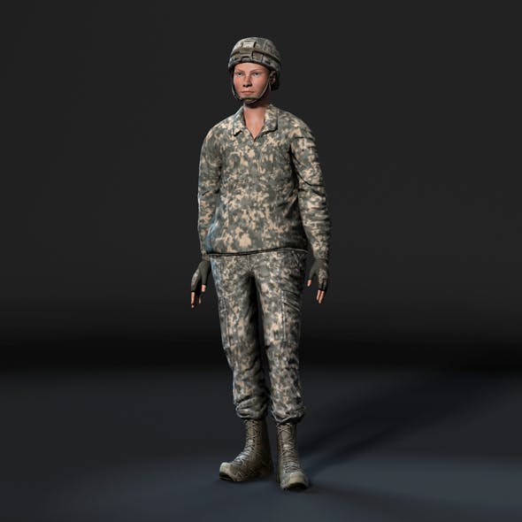 Animated Soldier Woman-Rigged 3d game character Low-poly