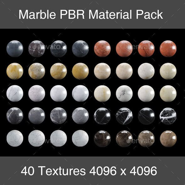 40 Marble Textures Material Pack PBR 4K Texture