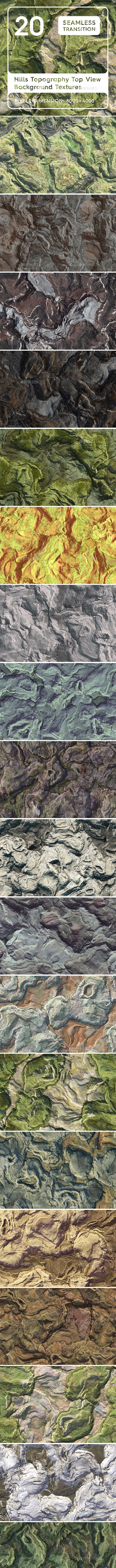 20 Hills Topography Top View Background Textures - 3DOcean Item for Sale