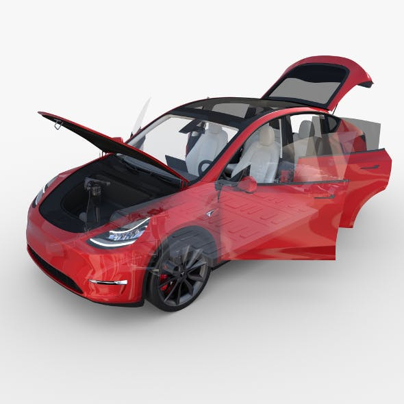 Tesla Model Y AWD Red with interior and chassis