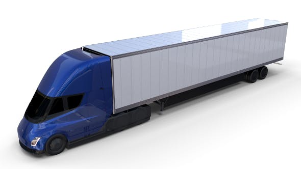 Tesla Truck with Chassis and Trailer Blue - 3DOcean Item for Sale