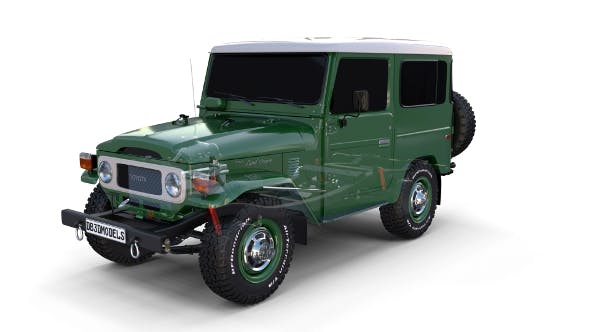 Toyota Land Cruiser FJ 40 with Chassis Green - 3DOcean Item for Sale