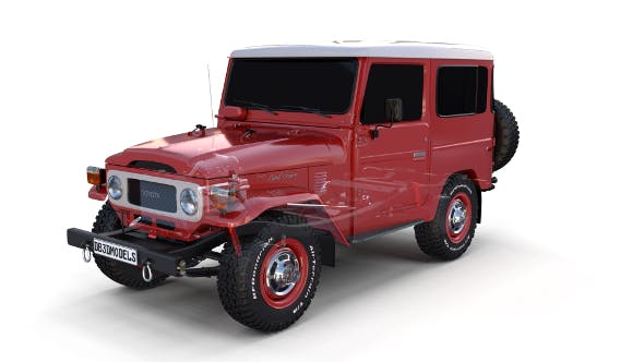 Toyota Land Cruiser FJ 40 with Chassis Red - 3DOcean Item for Sale