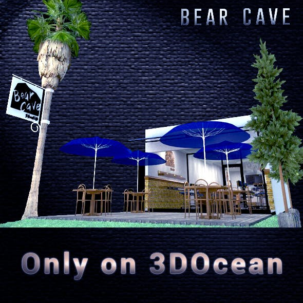 This is 3d design of simple Cafe, Bear Cave