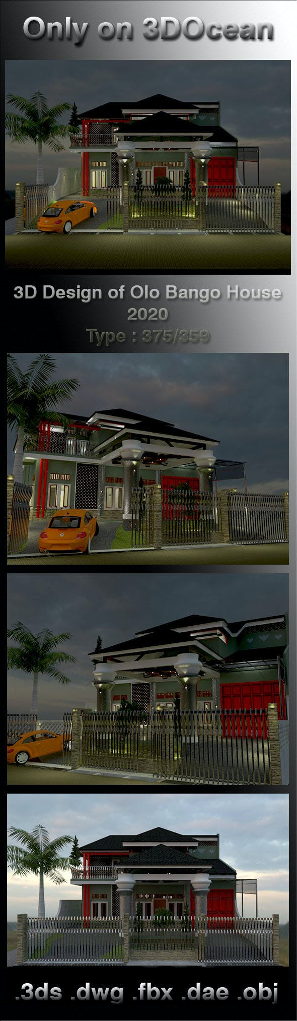 3D Design of Olo Bango House 2020 - 3DOcean Item for Sale
