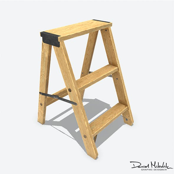 Wooden Ladder Animated RIG PBR - 3DOcean Item for Sale