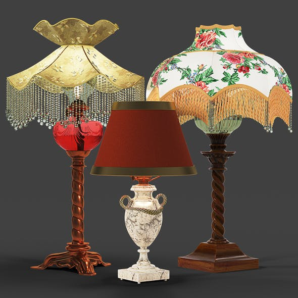 Set of vintage lamps - 3DOcean Item for Sale