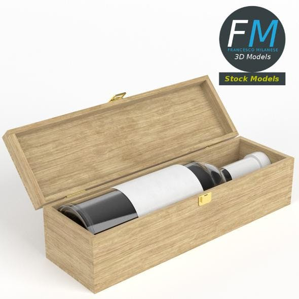 Wine bottle in a wooden box - 3DOcean Item for Sale