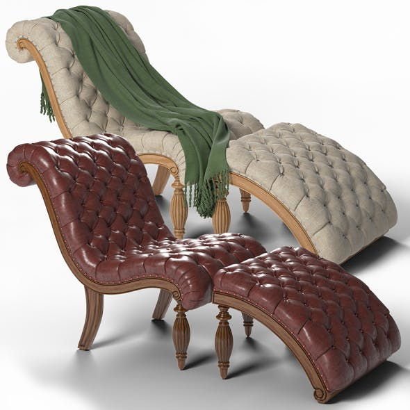 Chaise Lounge and Ottoman Set