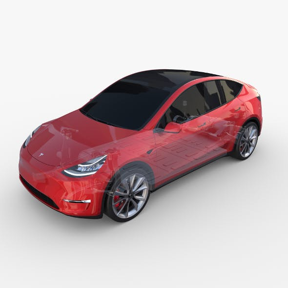 Tesla Model Y AWD Red with chassis - 3DOcean Item for Sale