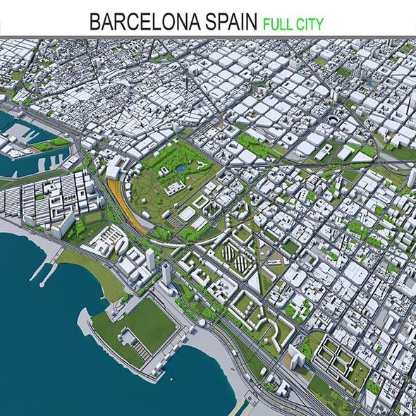Barcelona City 3D Model Spain 50km
